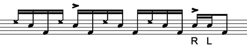 makes this work so well. Here's what the lick looks like: the bass drum notes and