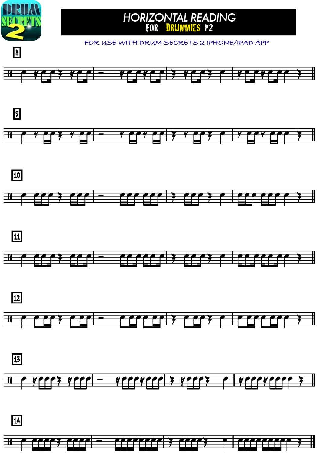 HORIZONTAL READING FOR DRUMMIES P2 FOR USE WITH DRUM SECRETS 2 IPHONE/IPAD APP