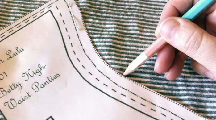 the chalk line on the half without the pattern piece. STEP 4: Repeat the pinning and