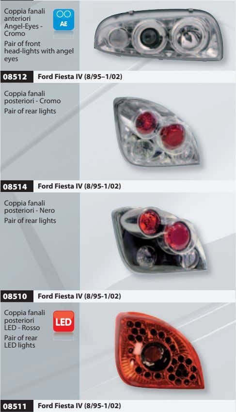 Coppia fanali anteriori Angel-Eyes - Cromo Pair of front head-lights with angel eyes 08512 Ford