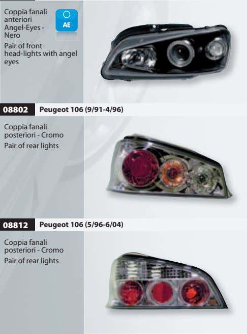 Coppia fanali anteriori Angel-Eyes - Nero Pair of front head-lights with angel eyes 08802 Peugeot