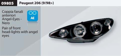 09805 Peugeot 206 (9/98>) Coppia fanali anteriori Angel-Eyes - Nero Pair of front head-lights with