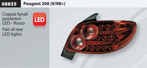 08835 Peugeot 206 (9/98>) Coppia fanali posteriori LED - Rosso Pair of rear LED lights