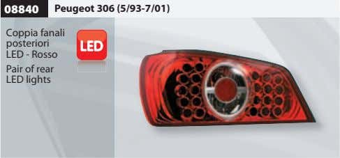 08840 Peugeot 306 (5/93-7/01) Coppia fanali posteriori LED - Rosso Pair of rear LED lights