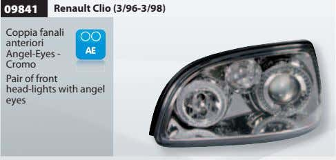 09841 Renault Clio (3/96-3/98) Coppia fanali anteriori Angel-Eyes - Cromo Pair of front head-lights with