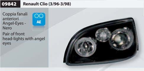 09842 Renault Clio (3/96-3/98) Coppia fanali anteriori Angel-Eyes - Nero Pair of front head-lights with