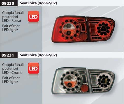 09230 Seat Ibiza (8/99-2/02) Coppia fanali posteriori LED - Rosso Pair of rear LED lights