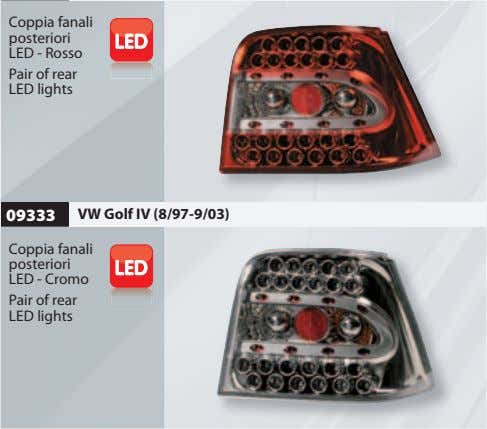 Coppia fanali posteriori LED - Rosso Pair of rear LED lights 09333 VW Golf IV
