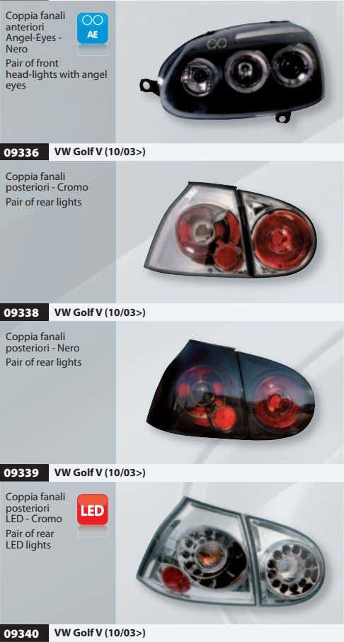 Coppia fanali anteriori Angel-Eyes - Nero Pair of front head-lights with angel eyes 09336 VW