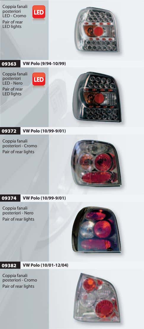 Coppia fanali posteriori LED - Cromo Pair of rear LED lights 09363 VW Polo (9/94-10/99)