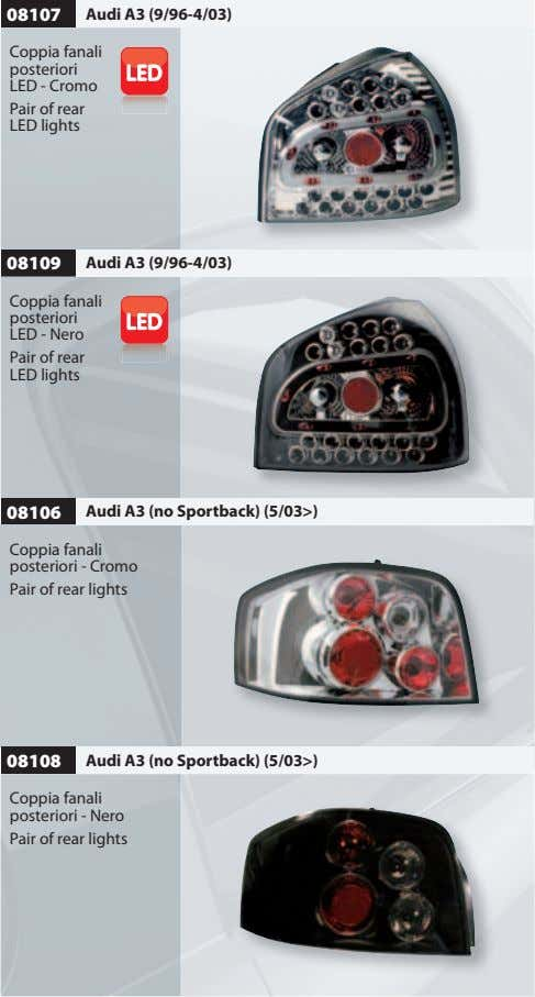08107 Audi A3 (9/96-4/03) Coppia fanali posteriori LED - Cromo Pair of rear LED lights