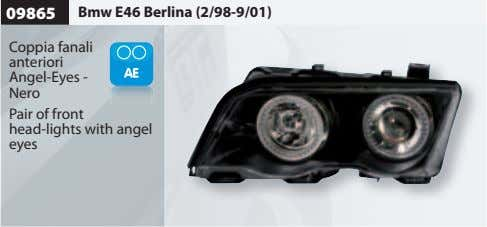 09865 Bmw E46 Berlina (2/98-9/01) Coppia fanali anteriori Angel-Eyes - Nero Pair of front head-lights