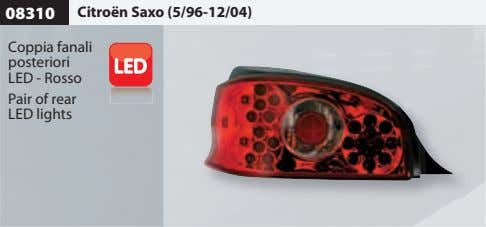 08310 Citroën Saxo (5/96-12/04) Coppia fanali posteriori LED - Rosso Pair of rear LED lights