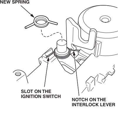 NEW SPRING SLOT ON THE IGNITION SWITCH NOTCH ON THE INTERLOCK LEVER