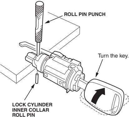 ROLL PIN PUNCH Turn the key. LOCK CYLINDER INNER COLLAR ROLL PIN