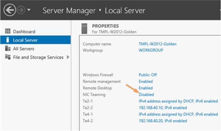 to NIC Teaming in the Server Manager window (Figure 20). Figure 20 Server Manager Window –
