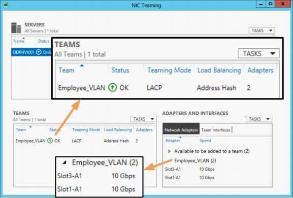 expanding the team in the ADAPTERS AND INTERFACES section. Figure 23 NIC Teaming – Status and