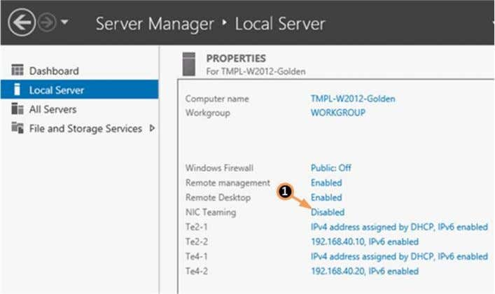 to NIC Teaming in the Server Manager window (Figure 35). Figure 35 Server Manager – Enabling