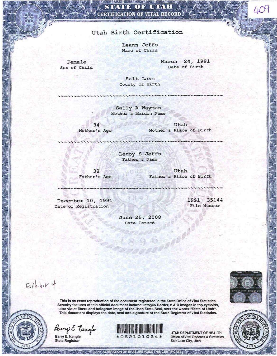 utah Birth Certification Leann Jeffs NamQ e ,f Female March 24, -1991 Sex of Child