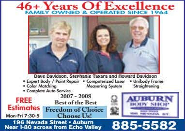 46+ Years Of Excellence FAMILY OWNED & OPERATED SINCE 1964 Dave Davidson, Stephanie Taxara and