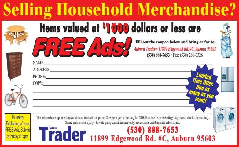 Selling Household Merchandise? Limited Time Offer. Run Items valued at $ $ $ 1000 dollars
