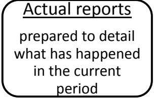 Actual reports prepared to detail what has happened in the current period