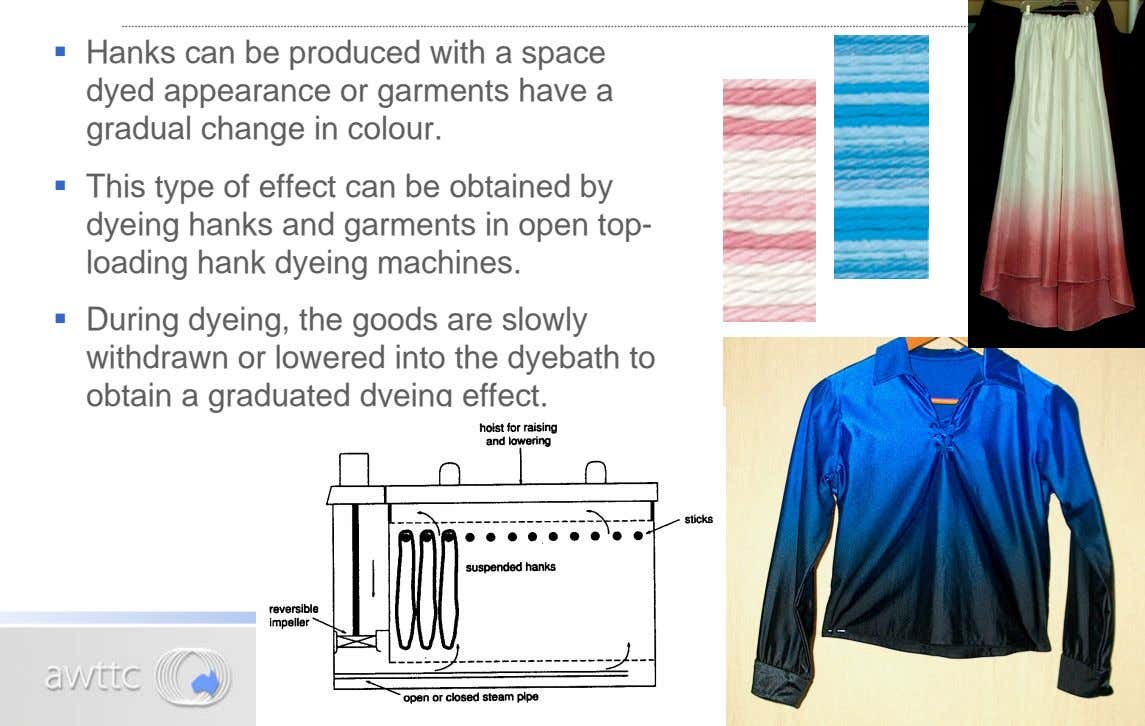 ß Hanks can be produced with a space dyed appearance or garments have a gradual change