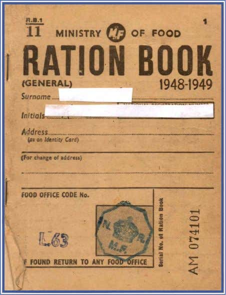 judgement – 'the Germans were the best behaved; © Ministry of Food – Ration Book 1948