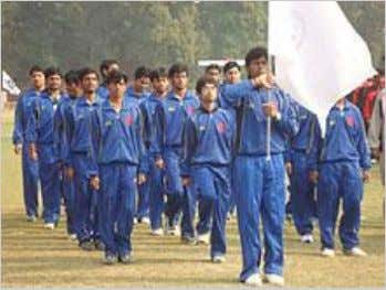 IIT Patna Students carrying the Institute Flag at the annual Inter IIT Sports Meet