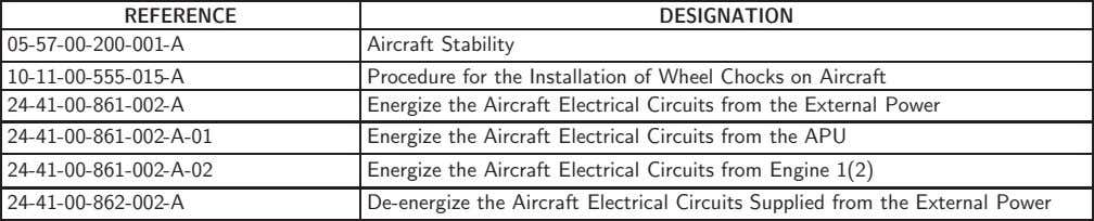 REFERENCE DESIGNATION 05-57-00-200-001-A Aircraft Stability 10-11-00-555-015-A 24-41-00-861-002-A Procedure for the