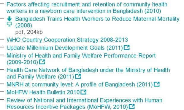 >> Alliance Knowledge Centre resources: Bangladesh >> More Resources From the HRH Global Resource Center