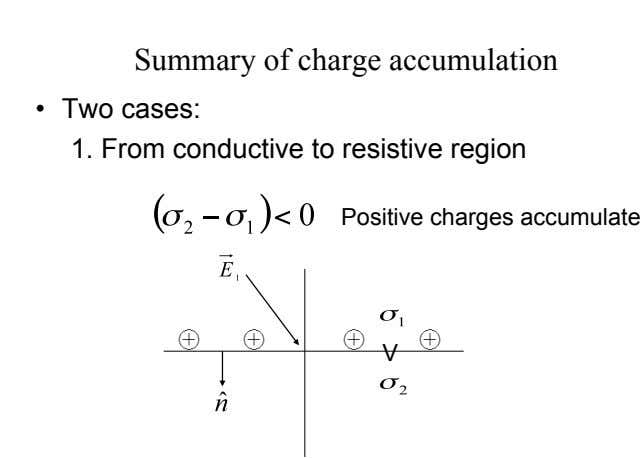 Summary of charge accumulation •   Two cases: 1. From conductive to resistive region Positive