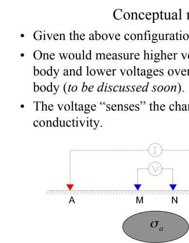 Conceptual model •   Given the above configuration: •   One would measure higher voltages