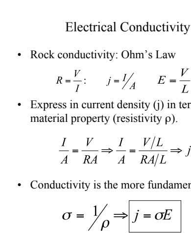 •   Rock conductivity: Ohm's Law