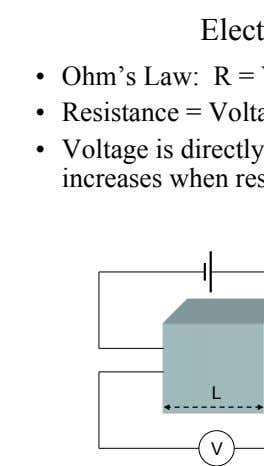 Electrical Conductivity •   Ohm's Law: R = V/I •   Resistance = Voltage/Current •