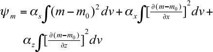 "of error in i'th datum •   Model objective function •   m =ln( "" ):"
