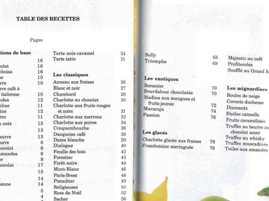 TABLE DES RECETTES Pages Tarte noix-ca rame l 16 Tarte tatin 24 68 21 Sully