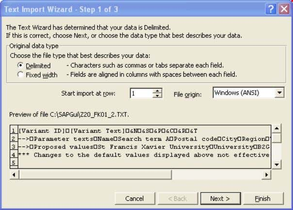 2. Accept these settings by clicking on the Next button. On the Text Import Wizard –