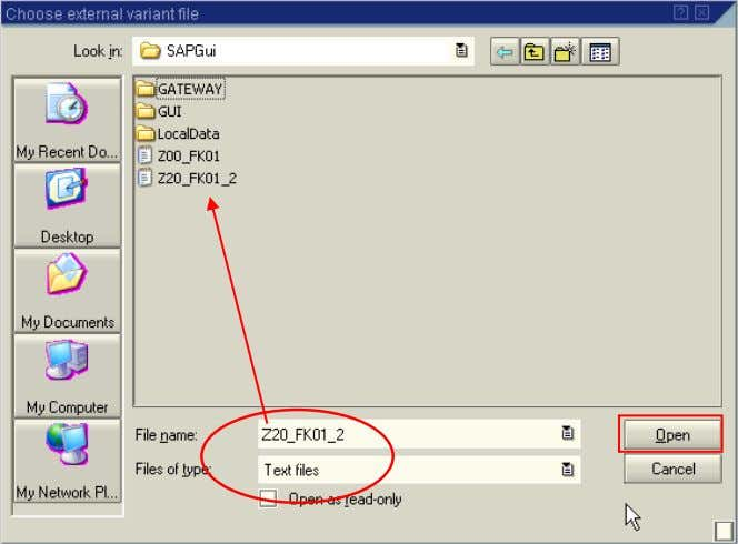 will display the Choose external variant file dialog box 5. Select the appropriate file and then
