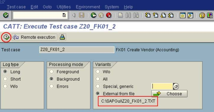 from the external file. [F8] to run the test case using the Note: As the Test