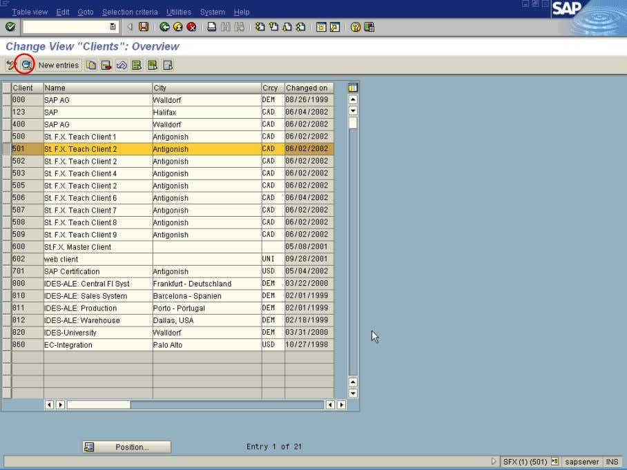 Client in which you want to execute CATT. (example shows Client 501 selected) 2. Select the