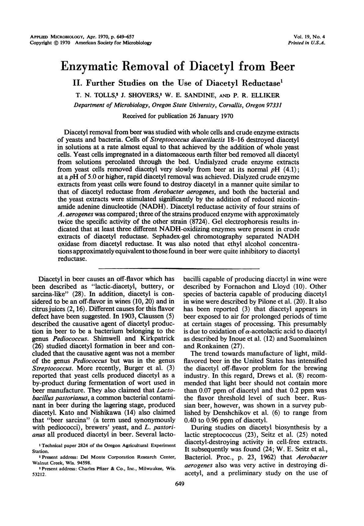APPLIED MICROBIOLOGY, Apr. 1970, p. 649-657 Vol. 19, No. 4 Copyright © 1970 American Society