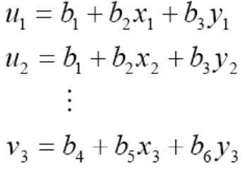 should satisfy the following six equations, Solving these equations, we can find the coefficients