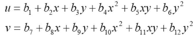 ( u, v) are assumed to be quadratic functions of ( x, y), where bi (i