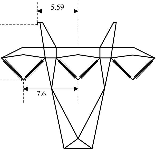 Figure 3.5: Top Geometry of Type 3PB tower. (Distances are in m). 3.7.4 The Critical