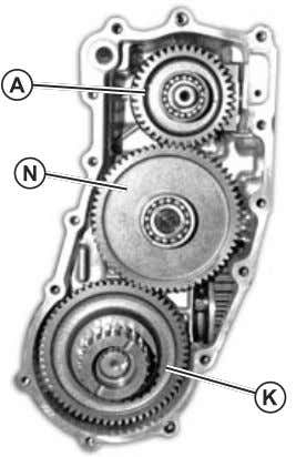 chipped teeth, wear or damage. Replace parts if necessary. Fig. 19, Rear PTO Cover Removed A