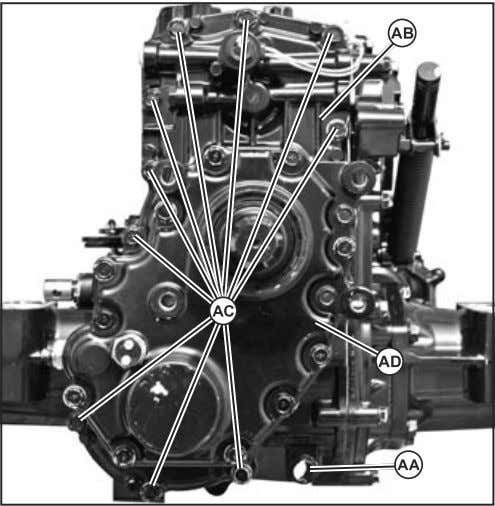 1. Remove plug to drain oil from transaxle (AA). (Fig. 21) Fig. 21, PTO Drive Train