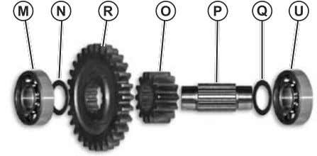 for wear or dam- age, replace as necessary. (Fig. 34) Fig. 34, Rear PTO Pinion/Input Gear