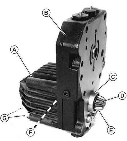 Replace retaining ring (D) if ring is distorted during Fig. 58, Hydrostatic (2WD) Motor 1. Secure