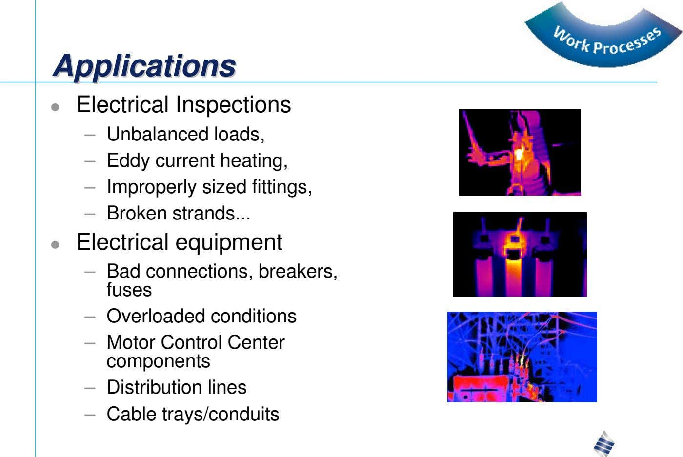 AAAppppppllliiicccaaatttiiiooonnnsss Electrical Inspections – Unbalanced loads, – Eddy current heating, –